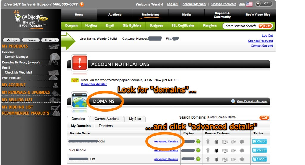 """My Account"" screen, shown when you first log into GoDaddy.com"